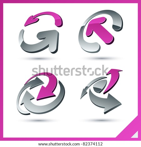 Set of vector business pink 3d signs. - stock vector