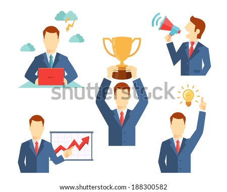 Set of vector businessman icons flat style showing him working at a desk  holding a trophy  doing a presentation  holding a megaphone and a lightbulb inspirational idea - stock vector