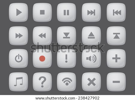 Set of vector button icon for computer and internet interface isolated on dark grey background - stock vector