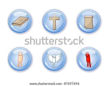 Set of vector buttons of religious subjects. Bible, angel, demon, human, cross. Christianity. Catholic. - stock vector