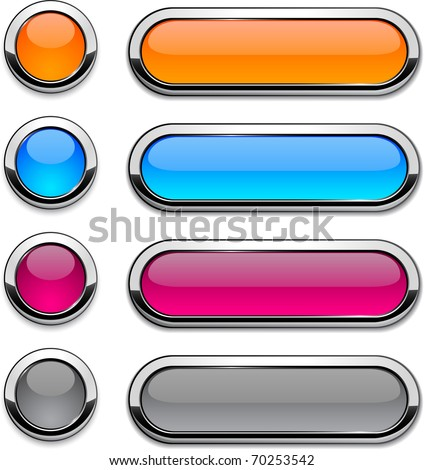 Set of vector buttons with metallic borders. - stock vector