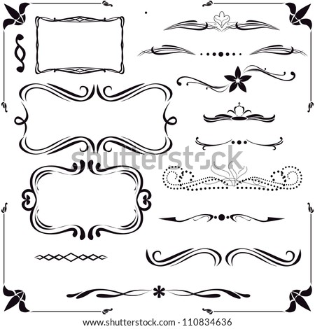 set of vector calligraphic design elements - stock vector