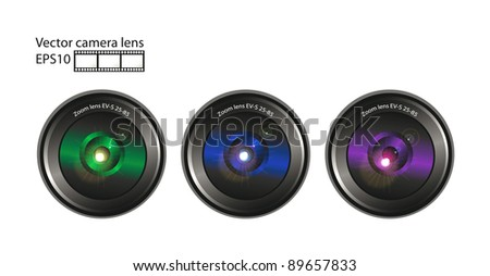Set of vector camera lens and film isolated over white background