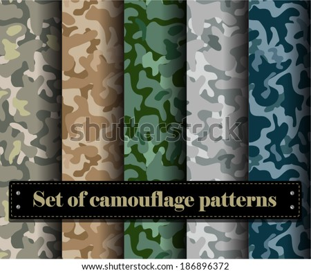 Set of vector camouflage pattern - stock vector