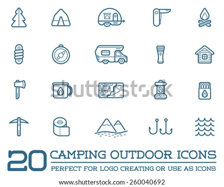 Set of Vector Camping Camp Elements and Outdoor Activity Icons Illustration can be used as Logo or Icon in premium quality  - stock vector