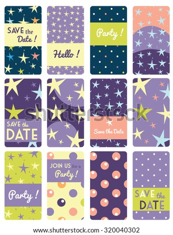 Set of  vector card templates with star pattern background. Ideal for Save The Date, baby shower, mothers day, valentines day, birthday cards, invitations. - stock vector