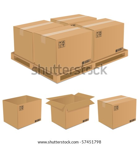 set of vector cardboard boxes - stock vector