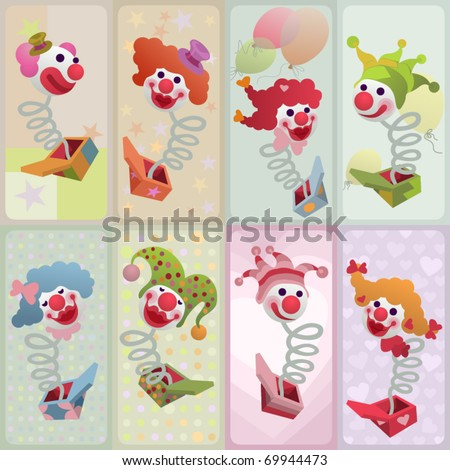 set of vector cards - jack in the box - stock vector