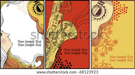 set of 3 vector cards with music instruments, flowers, waves and a female profile - stock vector