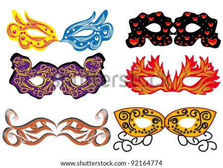set of vector carnival masks. abstract isolated illustration
