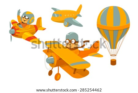 Set of vector cartoon aircraft with funny pilots - stock vector