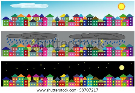 Set of vector cartoon cityscapes - on sunny day, on rainy day and at night - stock vector