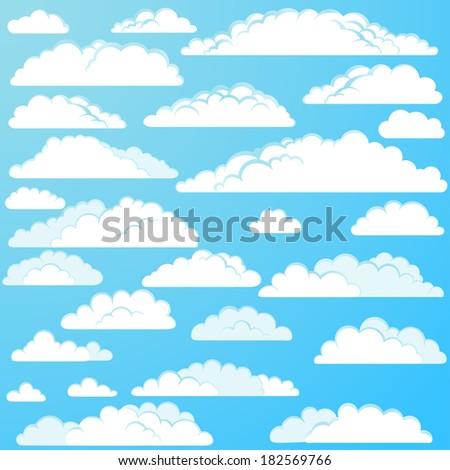 Set of vector cartoon clouds - stock vector