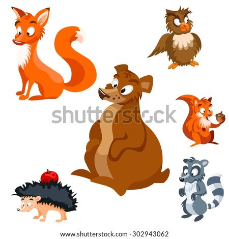 Set of vector cartoon forest animals bear, raccoon, squirrel with a nut, owl, hedgehog with an apple, fox - stock vector