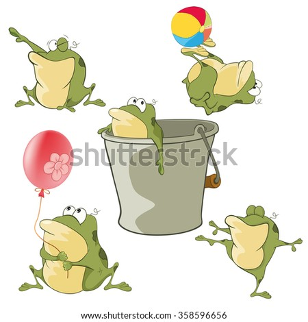 Set of Vector Cartoon Illustration. A Cute Green Frogs for you Design. Cartoon Character - stock vector
