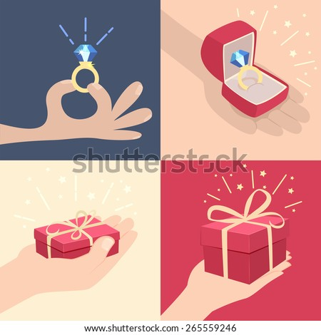 Set of vector cartoon illustrations of hands with gifts with one displaying a sparkling diamond ring, one holding a red gift box, one a larger sparkling red box and a sparkling ring in a jewellery box - stock vector