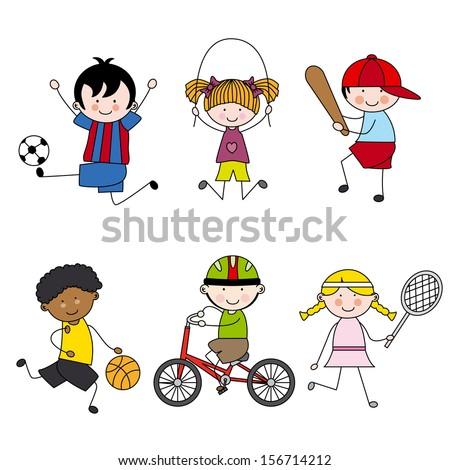 Set of vector cartoon sport icons - stock vector