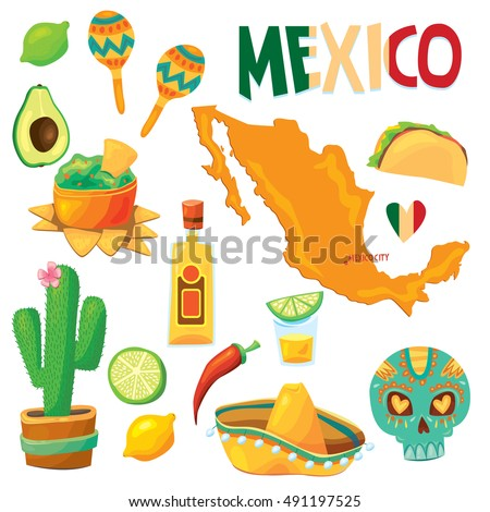 Set Vector Cartoonstyle Mexico Latin America Stock Vector 491197525