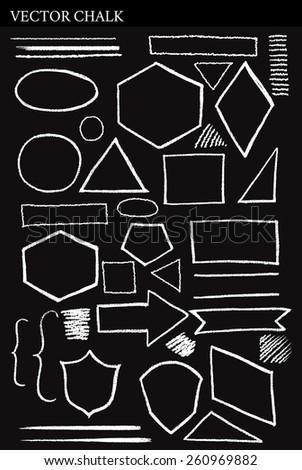 Set of Vector Chalk Shapes Grunge Design Elements. Hand drawn illustration. - stock vector