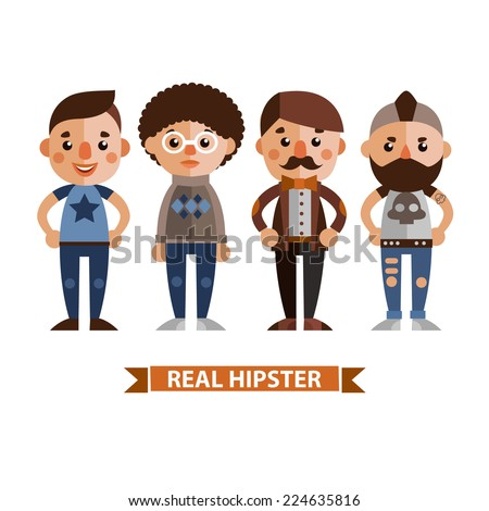 Set of vector characters in a flat style. Cartoon boys. - stock vector