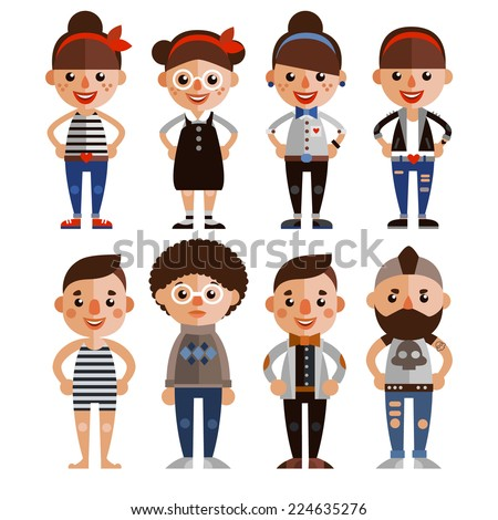 Set of vector characters in a flat style. Cartoon boys and girls. - stock vector