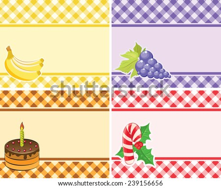 set of vector checkered backgrounds frames of different colors. theme - Fruits and holidays - stock vector