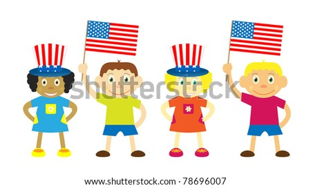 Set of vector children ,celebraiting independence day