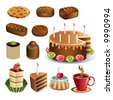 Set of vector chocolate sweets and cakes - stock vector