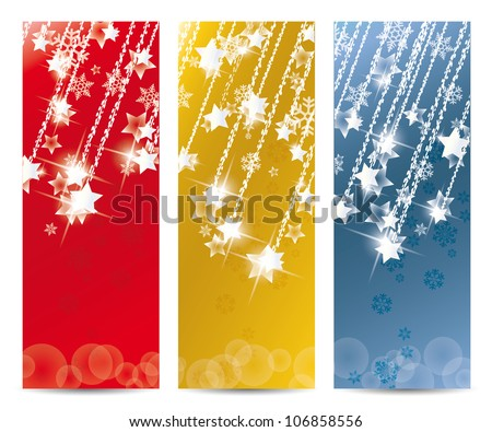 Set of vector Christmas banner and for the new year - stock vector