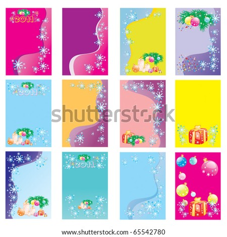 Set of vector Christmas cards - stock vector
