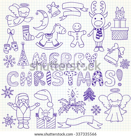 Set of vector Christmas characters and ornaments in doodle style (included snowflake;  gift; Santa Claus; deer; mistletoe; angel; bell; sock; candle; pine; mistletoe; rocking horse, gingerbread man) - stock vector