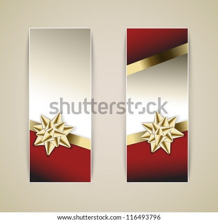Set of vector christmas / New Year banners with golden ribbon and bow