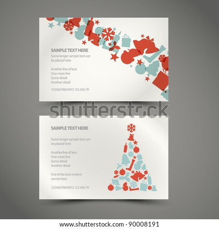 Set of vector christmas / New Year cards (blue and red) - stock vector