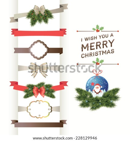 Set of vector Christmas ribbons and vintage new year labels. Elements for Xmas design - stock vector