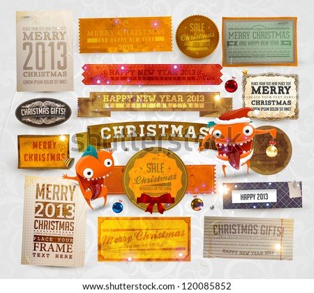 Set of vector Christmas ribbons, old dirty paper textures and vintage new year labels. Elements for Xmas design: balls, bow, snowflakes and funny Santa character - stock vector