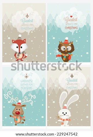 Set of vector Christmas ribbons, vintage new year labels. Elements for Xmas design. - stock vector