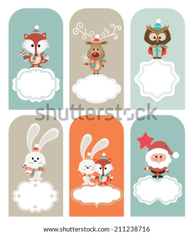 Set of vector Christmas vector elements, vintage banner, frames, badge, stickers. Vintage fox, reindeer, santa, owl and bunny - stock vector