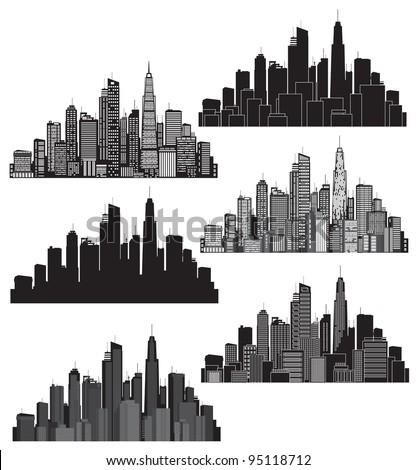 Set of vector cities silhouette - stock vector