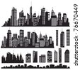Set of vector cities silhouette and elements for design. - stock photo