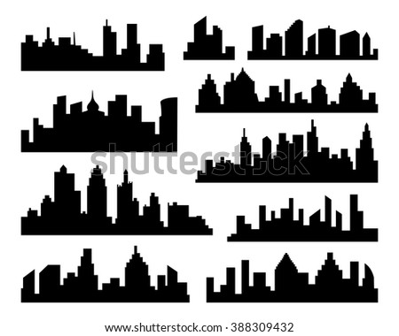 Set of vector Cities Silhouette. Vector black City Icons set on white Background