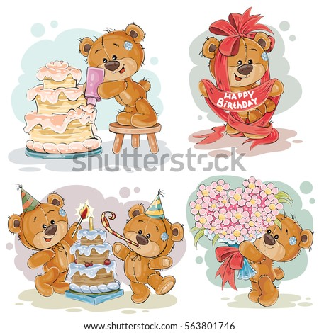 Set Vector Illustrations Brown Teddy Bear Stock Vector HD (Royalty ...