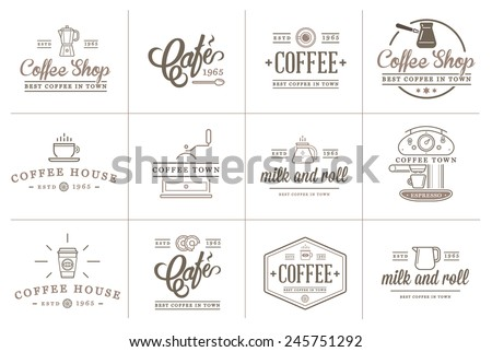 Set of Vector Coffee Elements and Coffee Accessories Illustration can be used as Logo or Icon in premium quality - stock vector