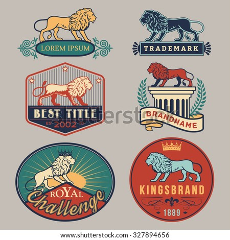 Set of vector color labels with main lion design theme. Logo templates,badges,emblems,signs white graphic collection. Product promotion and advertising symbols isolated on gray background - stock vector