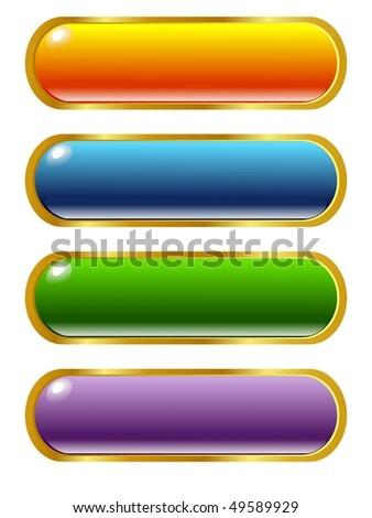 set of vector colored, long button - stock vector
