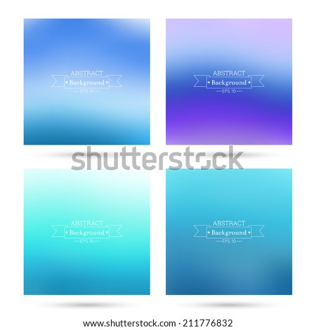 Set of vector colorful abstract backgrounds blurred. For mobile app, book cover, booklet, background, poster, web sites, annual reports. blue,  purple - stock vector