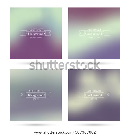 Set of vector colorful abstract backgrounds blurred. For mobile app, book cover, booklet, background, poster, web sites, annual reports.  blue, green, turquoise, cream, purple, violet, burgundy, red - stock vector
