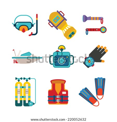 Set of vector colorful diving icons like mask fins flippers flashlight sea boat underwater photo camera and scuba in flat style