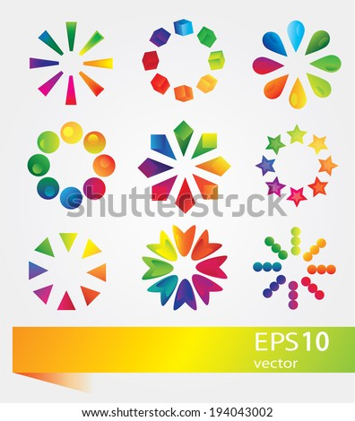 Set of vector colorful icons - stock vector