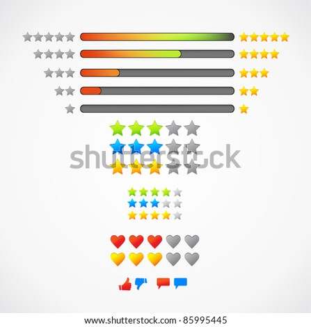 Set of vector colorful rating icons - stock vector