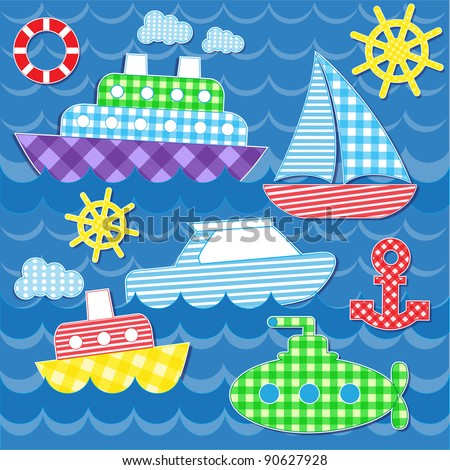 Set of vector colorful sea transport stickers - stock vector